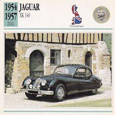 JAGUAR XK 140 - GRANDE-BRETAGNE 1954/57 - CARTE FICHE COLLECTOR VOITURE OLDTIMER