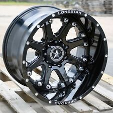 "20"" Gloss Black Lonestar Bandit Wheels Chevy Dodge 2500 H1 H2 20x12 8x6.5 -44mm"