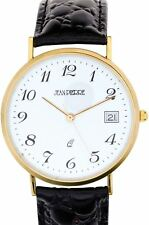 Gents 9ct Gold Wristwatch with Standard Numerals and Date - Black Leather Strap