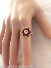 GENUINE RUBY & DIAMOND RING MIDDLE EASTERN DESIGN 18CT GOLD FLOWER VAL $8,670