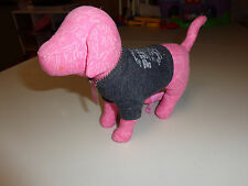 VICTORIAS SECRET    MINI DOG PLUSH   9  INCH   WITH T SHIRT & DOG TAGS   EUC