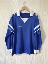 ADIDAS 80s VINTAGE FOOTBALL SHIRT SOCCER JERSEY LONG SLEEVE BLUE