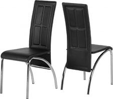 2x Seconique A3 Dining Chairs - Black Faux Leather