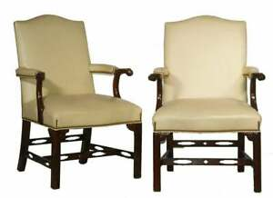 Pair of HANCOCK & MOORE Chippendale Style Mahogany & Leather Arm Chair