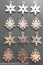 12 Winter Holiday Snowflakes Charms Bracelet Earrings Jewelry Making B16