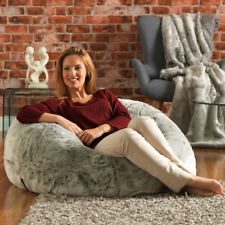 Icon Extra Large Luxury Faux Fur Bean Bag Chair – Giant Luxurious Furry Beanba