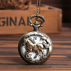 Bronze Horse Hollow Quartz Pocket Watch Necklace Chain Pendant Watches