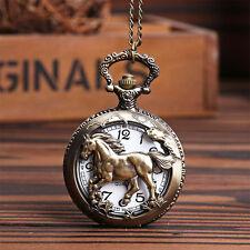 Bronze Horse Hollow Quartz Pocket Watch Necklace Chain Pendant Watches