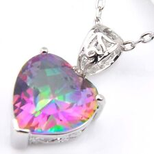 Florid Heart Fire Rainbow Mystic Topaz Cubic Zirconia Silver Pendants Necklaces