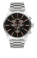 New Authentic Nixon Mens Watch Sentry Chrono Gray Rose Gold A386-2064 A3862064