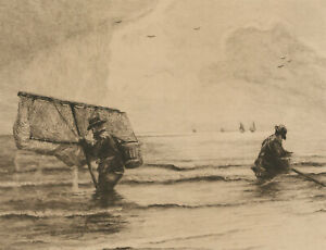 Alexander Mortimer - Signed Early 20th Century Etching, Shrimpers on the Coast
