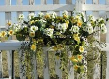 "White Geraniums Yellow Azaleas Cascading Window Box 24"" Silk Arrangement"