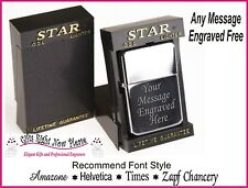 Engraved  Chrome Star Lighter Christmas Birthday Gift Dad Grandad