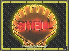 SHELL GAS STATION CLAMSHELL SIMULATED NEON DESIGN BANNER SIGN LARGE ART 4' X 3'