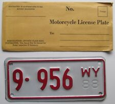 Wyoming 1988 BIG HORN COUNTY MOTORCYCLE License Plate SUPERB QUALITY # 9-956