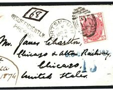 GB TRANSATLANTIC 3d Cover UNDERPAID Portsmouth Hants1874 USA Chicago Charge S55a