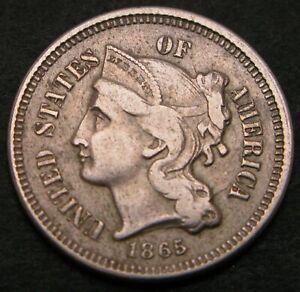 USA Nickel 3 Cents 1865 - Copper/Nickel - VF- - 86