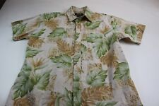 b3e2409be ONO Liberty House Greenish Brown Floral Pocket Button Front Shirt Large L