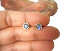 Round  Fiery LABRADORITE  Sterling  Silver 925 Gemstone  Stud Earrings - 6 mm