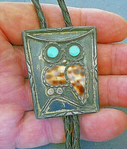 Old Native American Turquoise Spotted Shell Sterling Silver Owl Bolo Tie Signed