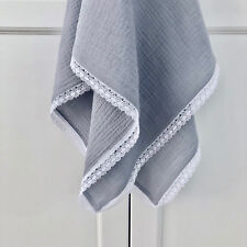New Lightweight Cotton Muslin Baby Blanket With Gorgeous Lace Ideal Newborn Gift