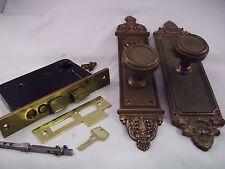 Antique Cast Bronze Door Knob Entrance Set Cylinder Key Thumb Turn #685