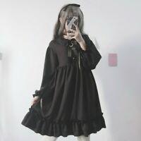 Gothic Lolita Dress Girl Ruffles Japanese Puff Sleeve Cosplay Retro Cute Vintage