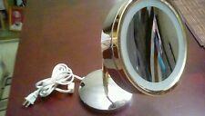 Vanity lighted magnified makeup mirror