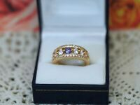 Antique Jewellery Gold Ring Amethyst White Sapphires Vintage Jewelry Q1/2