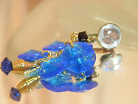 Very Pretty Vintage 1980's Cobalt Blue Dangling Lucite Clip Earrings 41jn7