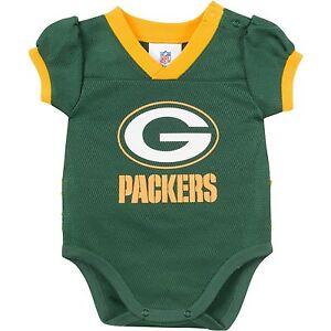 Green Bay Packers NFL Green Kids Girls Bodysuit/Creeper Jerseys/Shirts: 0-3m-18m