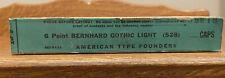 Nos Atf 6pt Bernhard Gothic Light Caps Letterpress Type Vintage Sealed