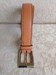 "Calvin Klein Tan Genuine Leather Classic Belt Sz 36 Silver Buckle 1.25"" Wide"