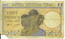 French Equatorial Africa 1041 100 Francs Afrique Francaise Libre P-8 VG SCARCE