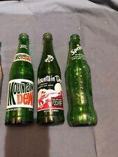Vintage Green & Clear Soda Bottles, 7-Up, Sprite, Mountain Dew, Root Beer Set 7