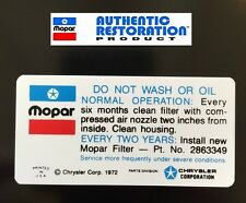 1972-1973 340 4bbl Do Not Wash Air Cleaner Decal Except Dual Snorkle New MoPar