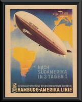 Zeppelin Rigid Airship Poster Reprint On Original Period 1930s Paper *260