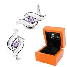 Lila violett Zirkonia Ohrstecker Ohrstick aus 925 Silber + Luxus LED Schmuckbox