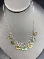 """Ladies Vintage Necklace Silver Shades Of Green Glass Dangle Charm   16"""""""