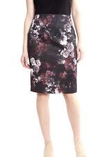 Joseph Ribkoff Black/Burgundy Floral Print Pencil Skirt 173720 US 8 UK 10 NEW