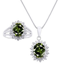 Princess Diana Inspired Halo Diamond & Green Sapphire Matching Pendant Necklace