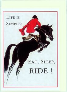 'Eat,Sleep,RIDE'. Hand made greeting card. Blank inside for all occasions.