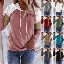 Women Long Sleeve Pockets Hoodie Sweatshirt Pullover Blouse Casual Hooded Tops