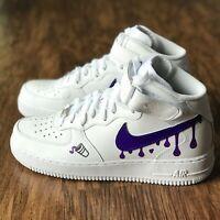Custom Nike Air Force 1 Shoes FREE SHIPPING 10 10.5 9.5 7y 6.5y 6y Purple Drip