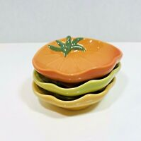 """Williams Sonoma Set of 3 Ceramic Bowls Dishes 5"""" Tomato Shaped Dipping Serving"""