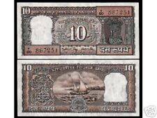 INDIA 10 RUPEES P60  1985 BUNDLE BOAT RNM SIGN LET F UNC CURRENCY MONEY 100 NOTE