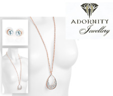 Rose gold colour crystal oval pendant chain necklace and earring set 31647 UK