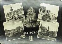 Ansichtskarte 1962 aus LEIPZIG, frankiert und gelaufen, Altes Rathaus, Hbf u. a.