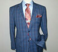 Mens Suit by RENOIR English Plaid Window Pane European Business 291-19 Blue Rust