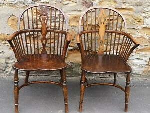 Pair of Oak and Elm Windsor Chairs